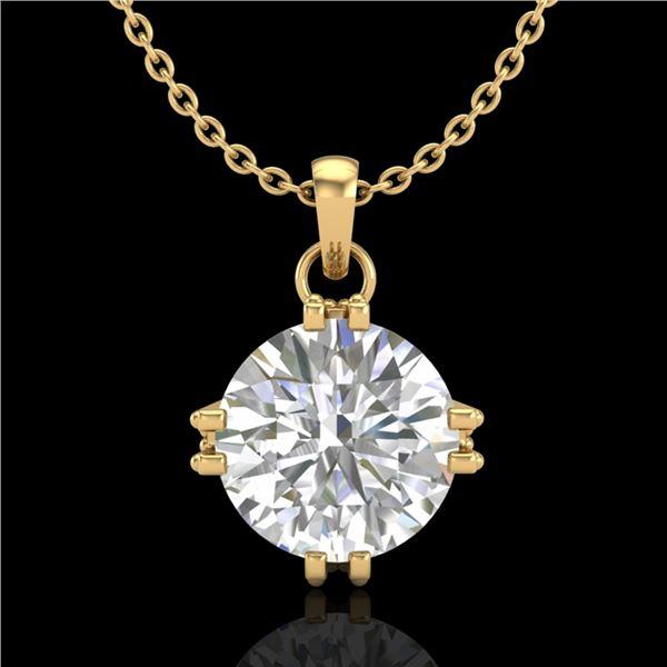 1 ctw VS/SI Diamond Solitaire Art Deco Stud Necklace 18k Yellow Gold - REF-294G2W
