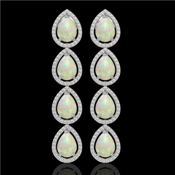 9.12 ctw Opal & Diamond Micro Pave Halo Earrings 10k White Gold - REF-174G5W