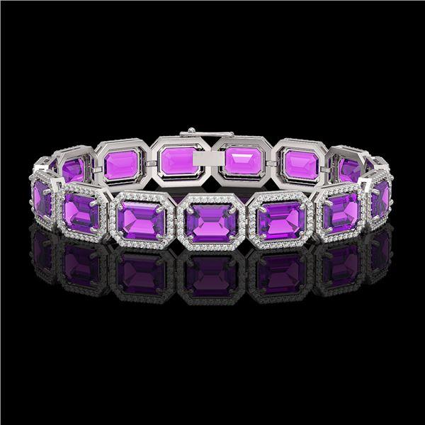 34.86 ctw Amethyst & Diamond Micro Pave Halo Bracelet 10k White Gold - REF-345Y5X