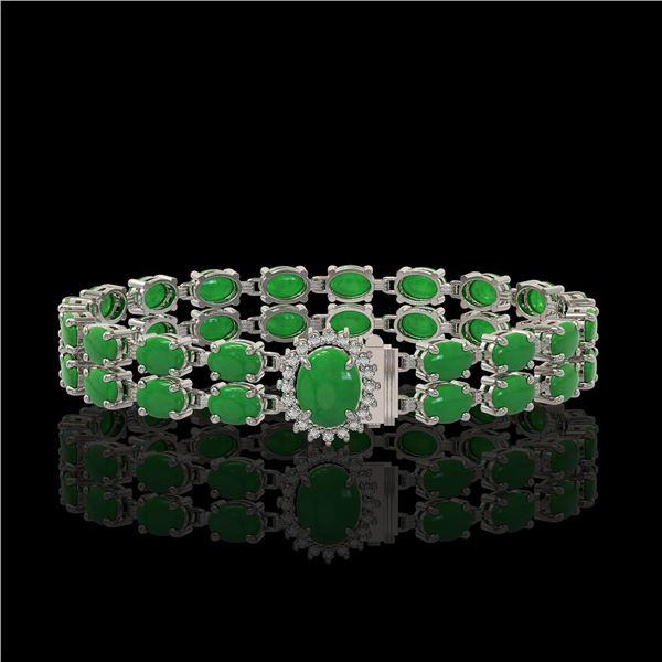 29.82 ctw Jade & Diamond Bracelet 14K White Gold - REF-218G2W