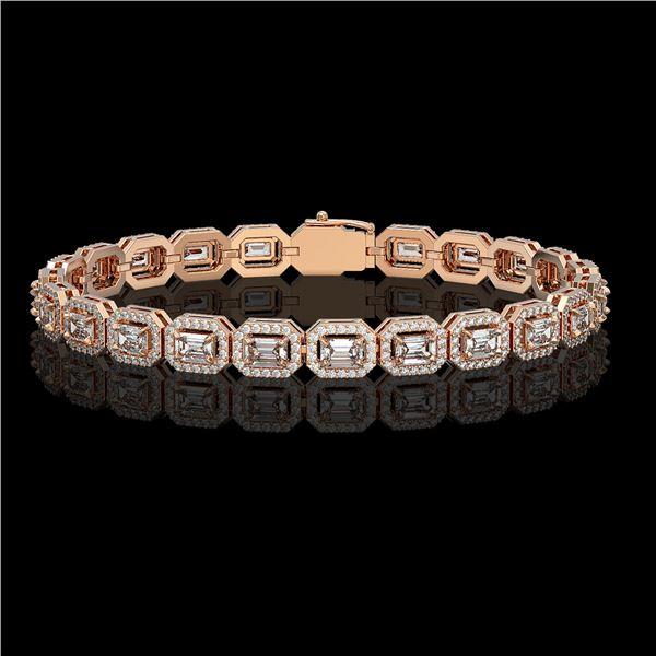 8.83 ctw Emerald Cut Diamond Micro Pave Bracelet 18K Rose Gold - REF-1051Y2X