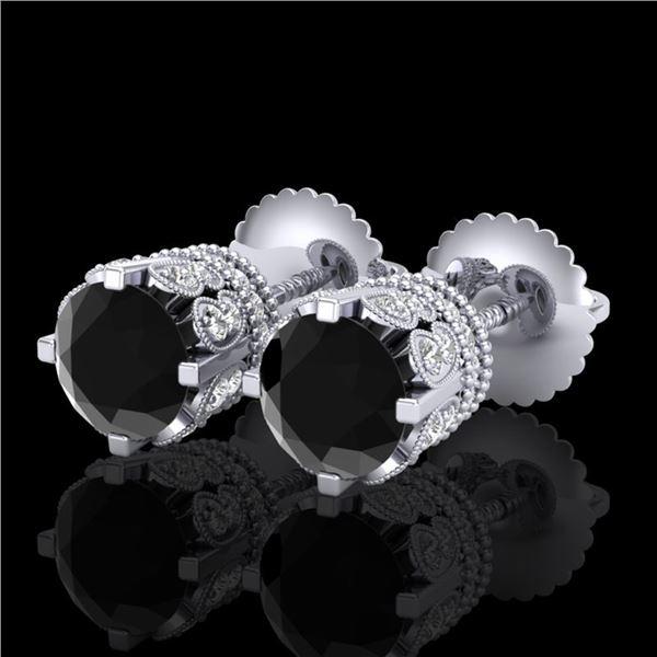 3 ctw Fancy Black Diamond Art Deco Stud Earrings 18k White Gold - REF-149Y3X