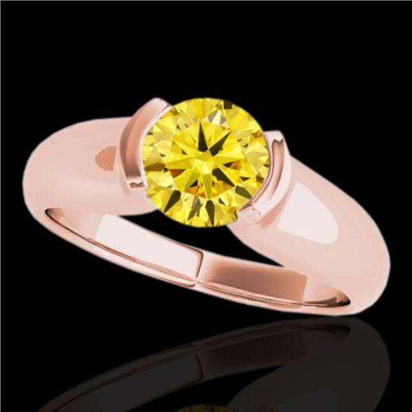 1 ctw Certified SI/I Fancy Intense Yellow Diamond Ring 10k Rose Gold - REF-177W3H