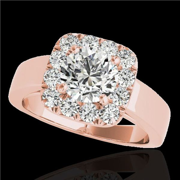 1.55 ctw Certified Diamond Solitaire Halo Ring 10k Rose Gold - REF-190H9R