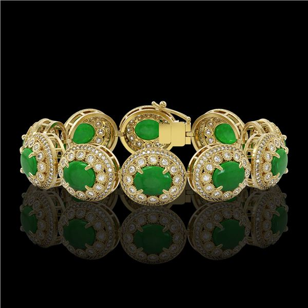 44.77 ctw Jade & Diamond Victorian Bracelet 14K Yellow Gold - REF-1184W2H