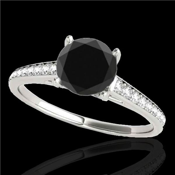 2 ctw Certified VS Black Diamond Solitaire Ring 10k White Gold - REF-57A3N