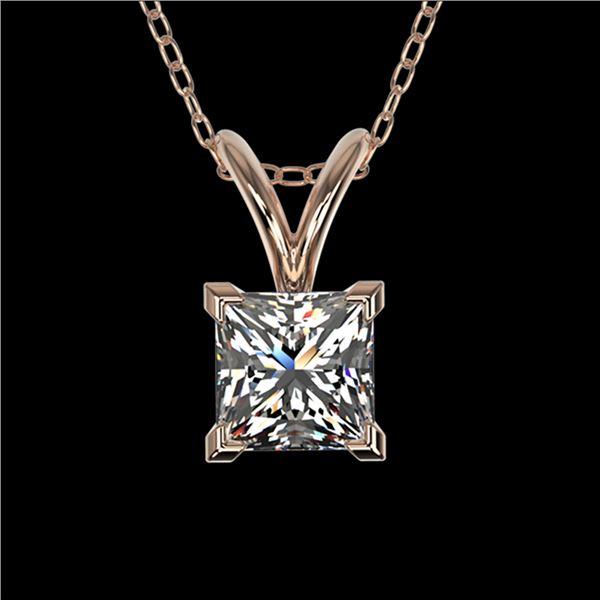 0.50 ctw Certified VS/SI Quality Princess Diamond Necklace 10k Rose Gold - REF-65R2K
