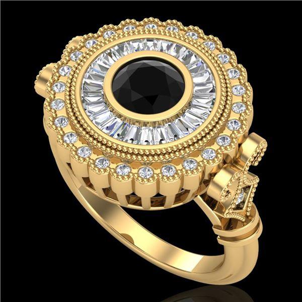 2.03 ctw Fancy Black Diamond Engagment Art Deco Ring 18k Yellow Gold - REF-203K6Y