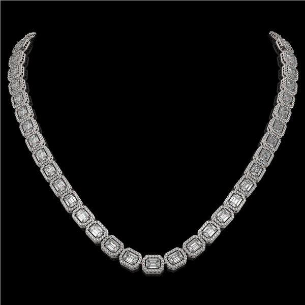 33.10 ctw Emerald Cut Diamond Micro Pave Necklace 18K White Gold - REF-5182N5F
