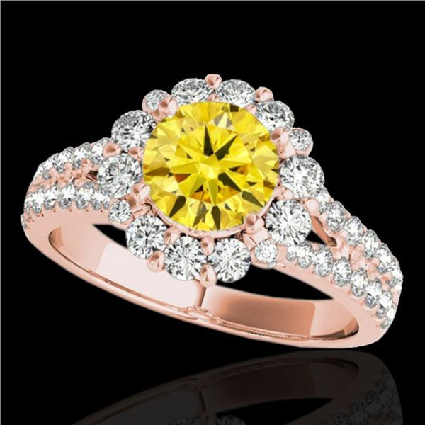 2.51 ctw Certified SI/I Fancy Intense Yellow Diamond Ring 10k Rose Gold - REF-347Y8X