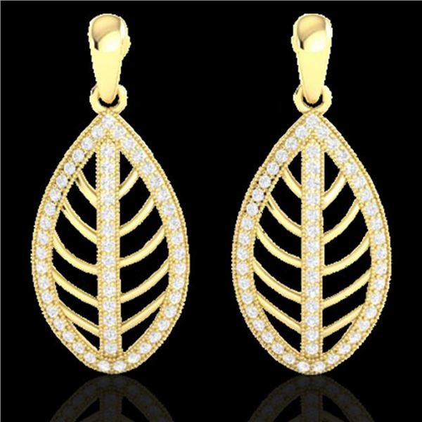 2 ctw Micro Pave VS/SI Diamond Designer Earrings 18k Yellow Gold - REF-174H5R