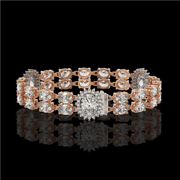 14.86 ctw Rare Oval Diamond Bracelet 18K Rose Gold - REF-2152X8A