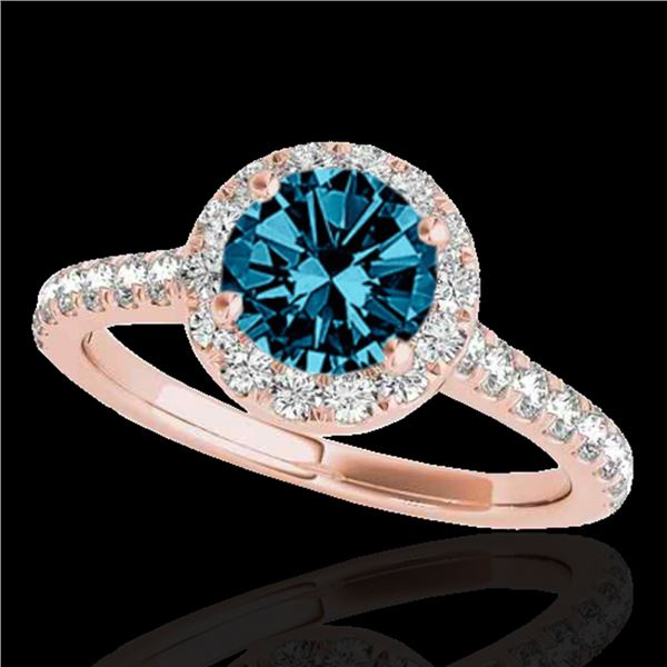 1.4 ctw SI Certified Fancy Blue Diamond Solitaire Halo Ring 10k Rose Gold - REF-133N6F
