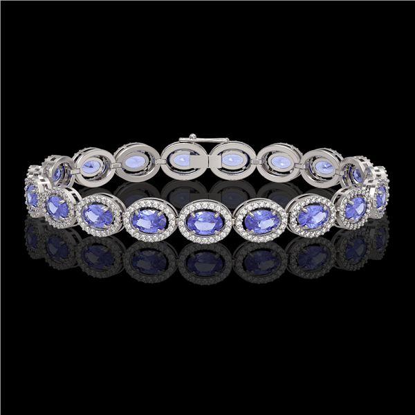 14.25 ctw Tanzanite & Diamond Micro Pave Halo Bracelet 10k White Gold - REF-309X3A