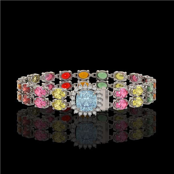 19.77 ctw Sapphire & Diamond Bracelet 14K White Gold - REF-245Y5X
