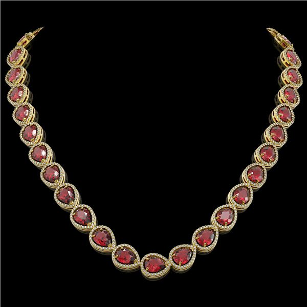 41.6 ctw Tourmaline & Diamond Micro Pave Halo Necklace 10k Yellow Gold - REF-1072N8F