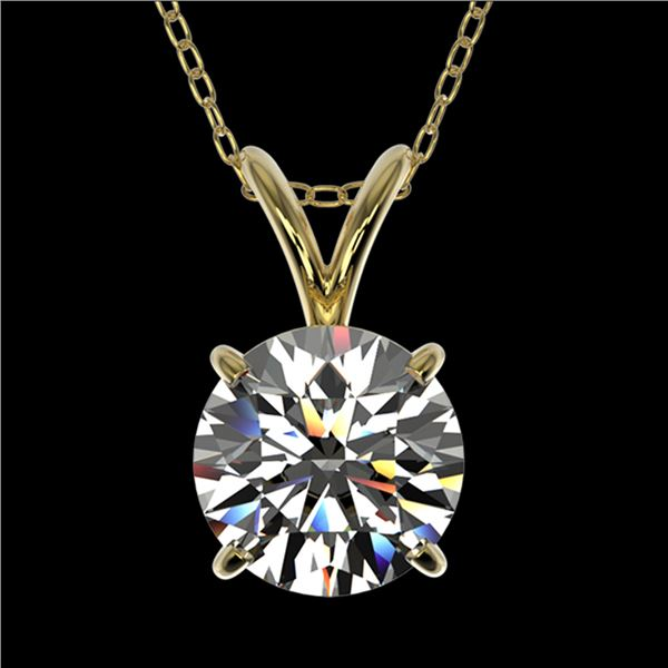 1.25 ctw Certified Quality Diamond Necklace 10k Yellow Gold - REF-188K2Y