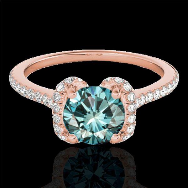 1.33 ctw SI Certified Fancy Blue Diamond Halo Ring 10k Rose Gold - REF-122F6M