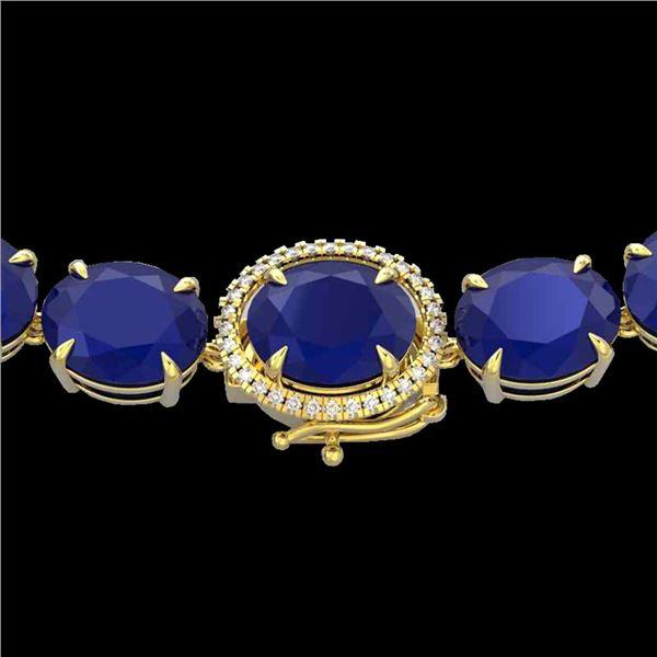 170 ctw Sapphire & VS/SI Diamond Halo Micro Necklace 14k Yellow Gold - REF-890F9M