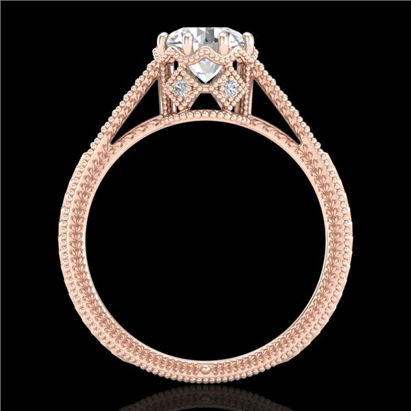 1.25 ctw VS/SI Diamond Solitaire Art Deco Ring 18k Rose Gold - REF-330F2M