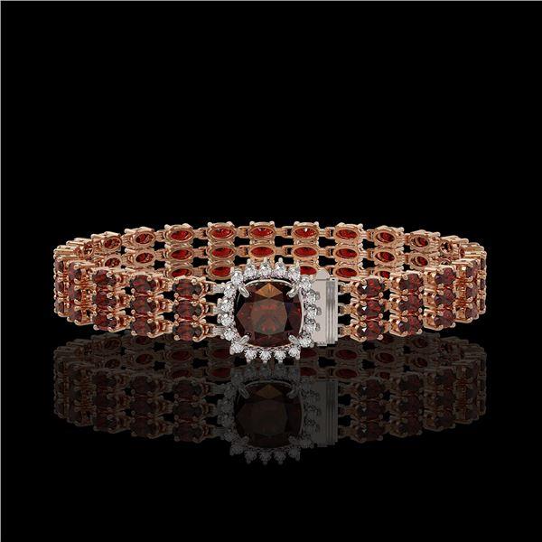 25.08 ctw Garnet & Diamond Bracelet 14K Rose Gold - REF-281N8F