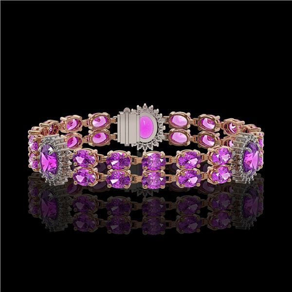 15.62 ctw Amethyst & Diamond Bracelet 14K Rose Gold - REF-254G5W