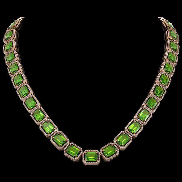 73.41 ctw Peridot & Diamond Micro Pave Halo Necklace 10k Rose Gold - REF-888F2M