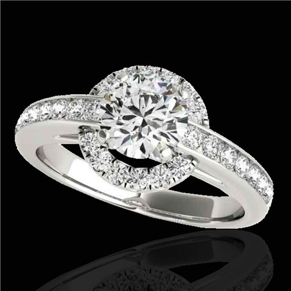 1.5 ctw Certified Diamond Solitaire Halo Ring 10k White Gold - REF-210A2N