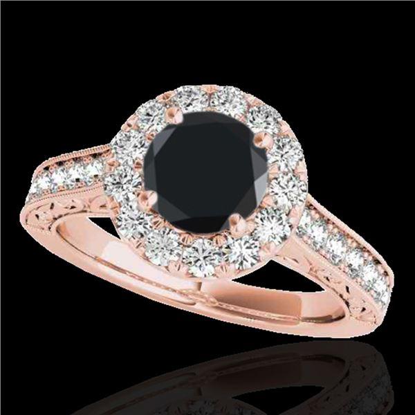 1.7 ctw Certified VS Black Diamond Solitaire Halo Ring 10k Rose Gold - REF-77G8W