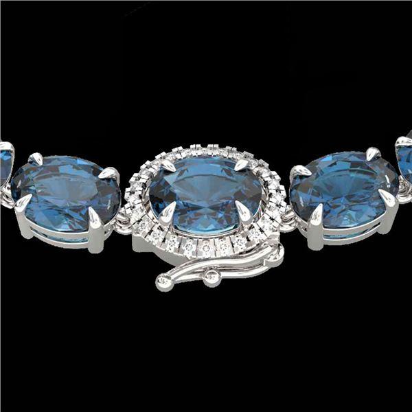 90 ctw London Blue Topaz & VS/SI Diamond Micro Necklace 14k White Gold - REF-281G8W