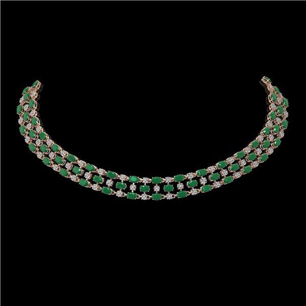 43.07 ctw Emerald & Diamond Necklace 10K Rose Gold - REF-527M3G