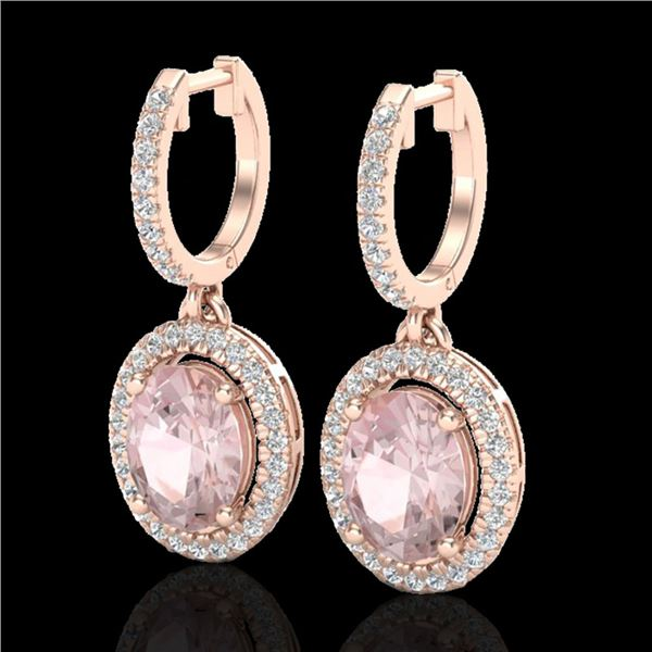 3.25 ctw Morganite & Micro Pave VS/SI Diamond Earrings 14k Rose Gold - REF-114M5G