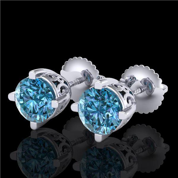 1.5 ctw Fancy Intense Blue Diamond Art Deco Earrings 18k White Gold - REF-272H8R