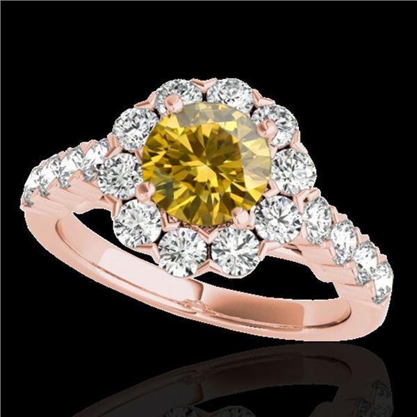 3 ctw Certified SI/I Fancy Intense Yellow Diamond Halo Ring 10k Rose Gold - REF-327F3M