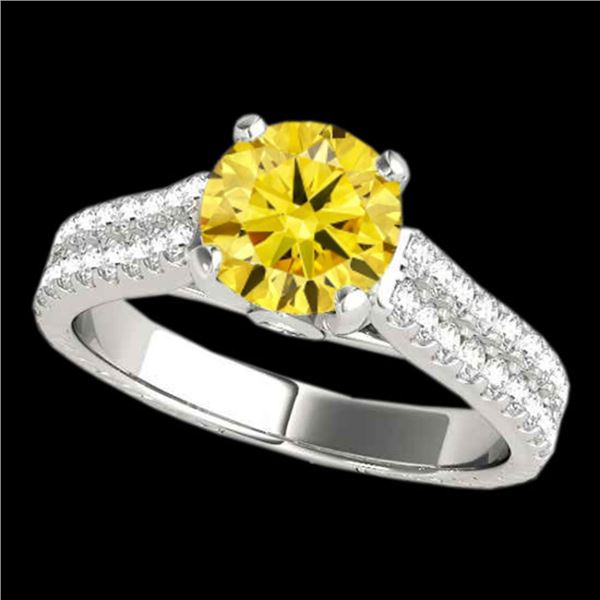 2.11 ctw SI/I Fancy Intense Yellow Diamond Pave Ring 10k White Gold - REF-334F3M