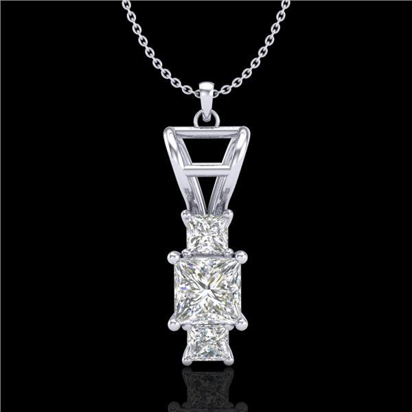 1.54 ctw Princess VS/SI Diamond Art Deco Necklace 18k White Gold - REF-418A2N