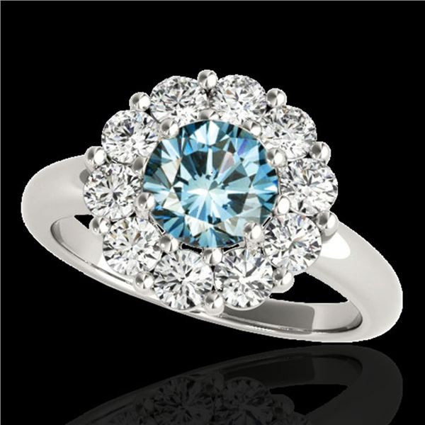 2.09 ctw SI Certified Fancy Blue Diamond Halo Ring 10k White Gold - REF-156F8M