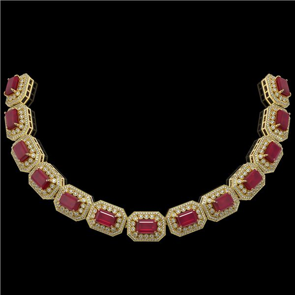 137.65 ctw Certified Ruby & Diamond Victorian Necklace 14K Yellow Gold - REF-2875R6K