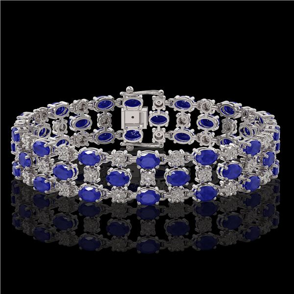 25.85 ctw Sapphire & Diamond Bracelet 10K White Gold - REF-272N8F