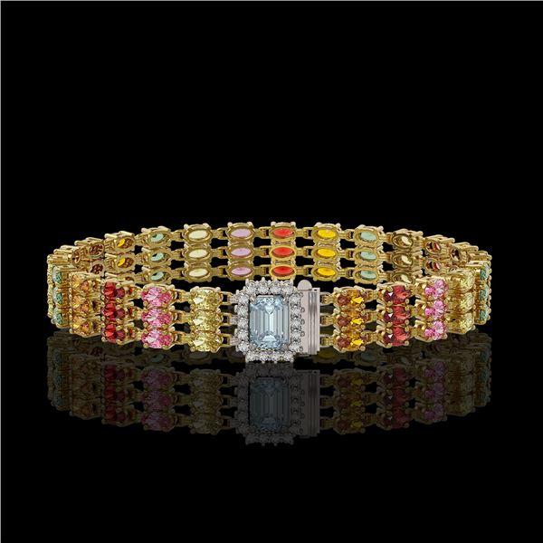 29.17 ctw Sapphire & Diamond Bracelet 14K Yellow Gold - REF-318W2H