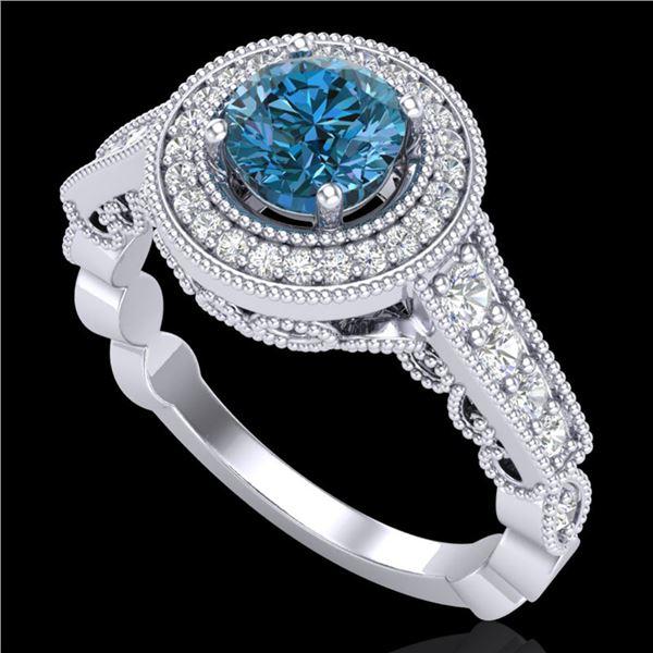 1.12 ctw Fancy Intense Blue Diamond Art Deco Ring 18k White Gold - REF-167H3R