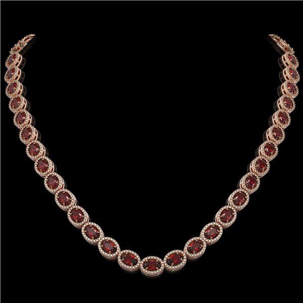 32.82 ctw Garnet & Diamond Micro Pave Halo Necklace 10k Rose Gold - REF-600W2H