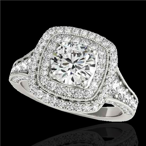 2 ctw Certified Diamond Solitaire Halo Ring 10k White Gold - REF-231W8H