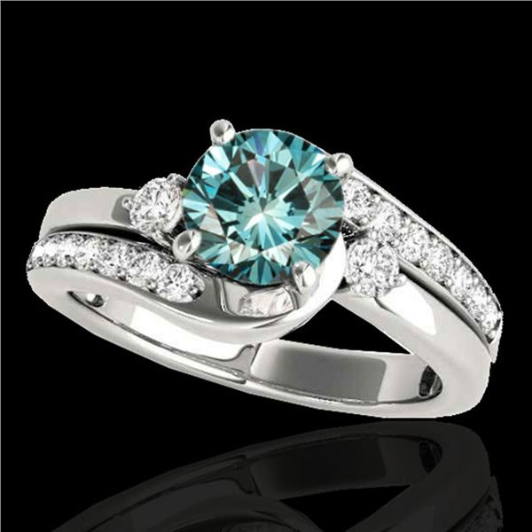 1.5 ctw SI Certified Fancy Blue Diamond Bypass Ring 10k White Gold - REF-150Y2X