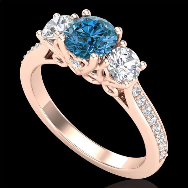 1.67 ctw Intense Blue Diamond Art Deco 3 Stone Ring 18k Rose Gold - REF-200M2G