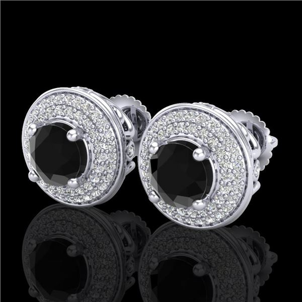 2.35 ctw Fancy Black Diamond Art Deco Stud Earrings 18k White Gold - REF-167Y3X
