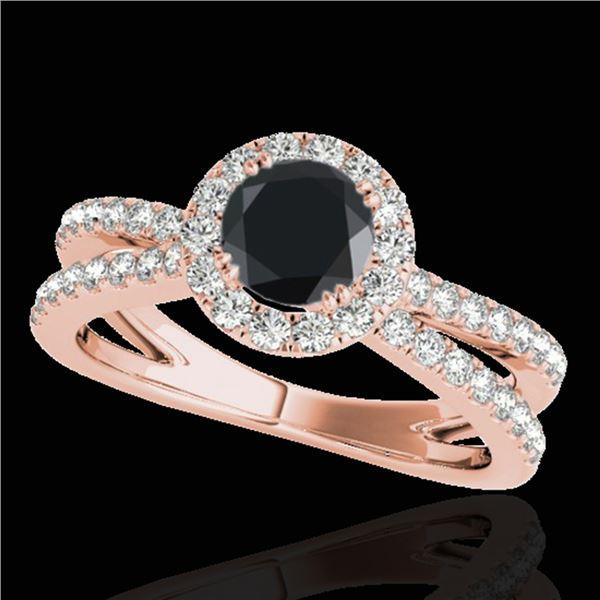 1.55 ctw Certified VS Black Diamond Solitaire Halo Ring 10k Rose Gold - REF-60H4R