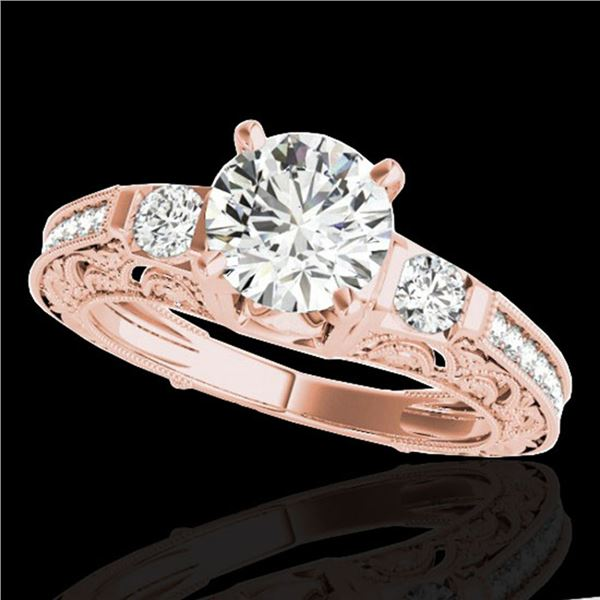 1.38 ctw Certified Diamond Solitaire Antique Ring 10k Rose Gold - REF-201M8G
