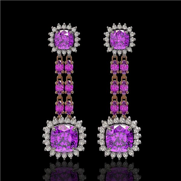18.96 ctw Amethyst & Diamond Earrings 14K Rose Gold - REF-222R2K