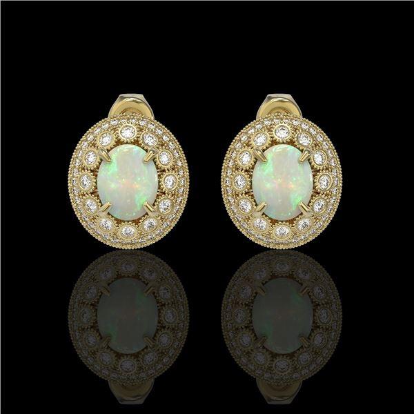 7.4 ctw Certified Opal & Diamond Victorian Earrings 14K Yellow Gold - REF-227R8K